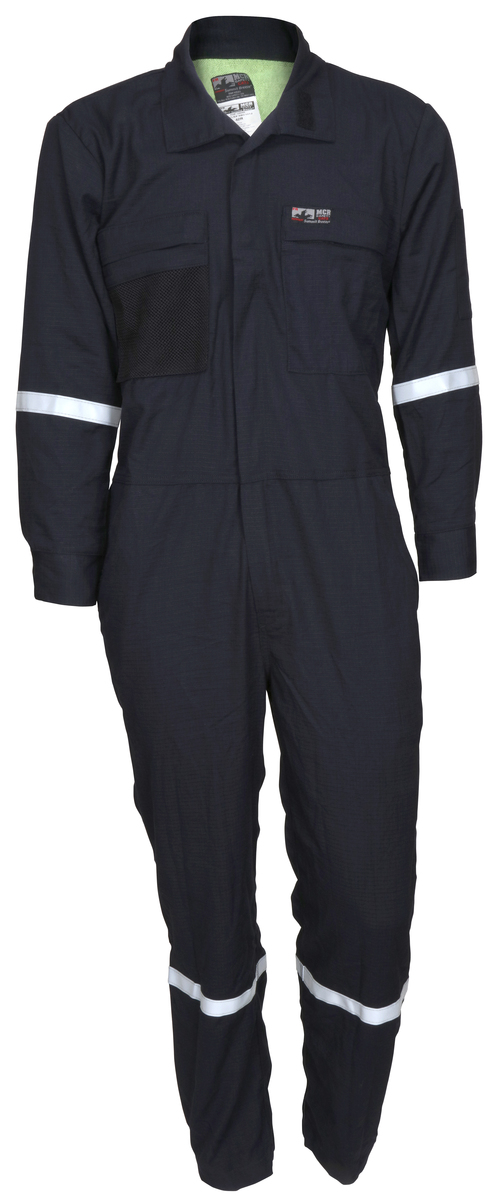 Flame Resistant (FR) Navy 5.5-ounce Inherent Blend Material Long Sleeve Coverall with Vented Underarms and Back 1-Inch Silver Reflective Stripes, CAT 2