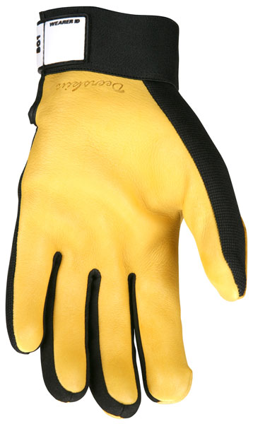 Scroll over for larger image 901 - MCR Safety Multi-Task, Grain deerskin palm, black spandex back, Hook & Loop Wrist