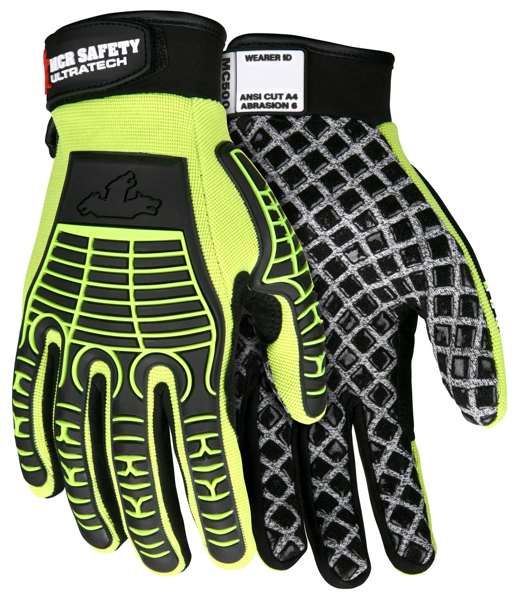 MCR Safety UltraTech® Multi-Task 10 Gauge HPPE / Synthetic Brushed Nylon Silicone Palm Blocks and TPR Cage Back