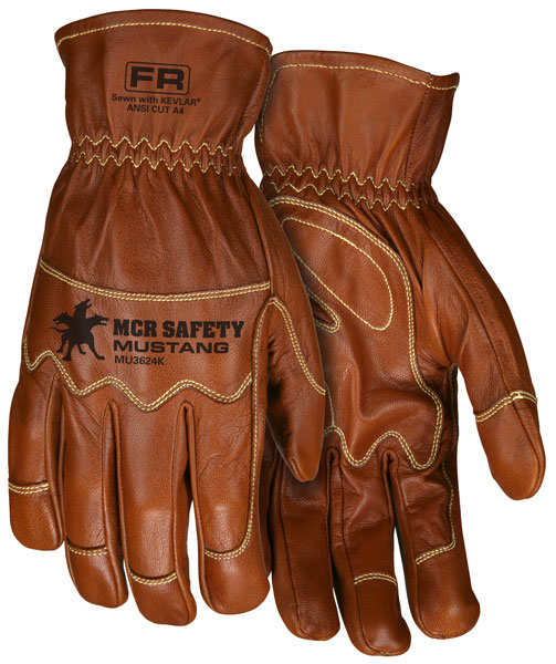 "NEW ITEM!! MU3624K - ""Mustang Utility"" Driver, Grain Goat Dbl Palm, Kevlar® Lined and Kevlar® Sewn, Wing Thumb"