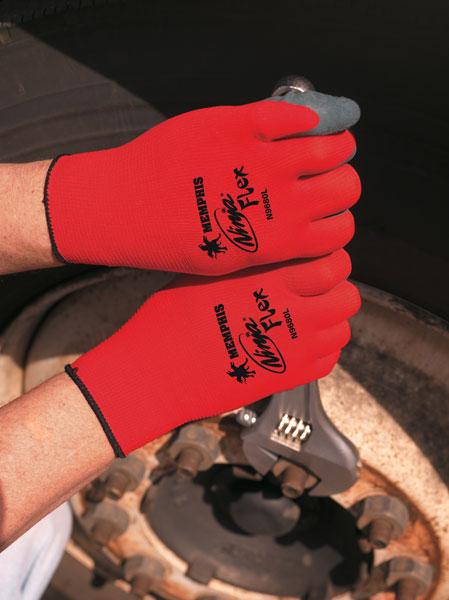 N9680 - Ninja® Flex ,15 Gauge Red Nylon Shell, Gray Latex Palm and Fingers