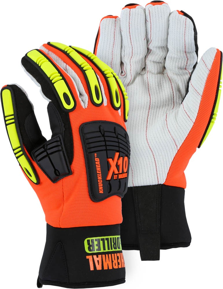 KNUCKLEHEAD DRILLER X10 WINTER LINED GLOVE WITH COTTON PALM AND IMPACT PROTECTION (SIZE LARGE)