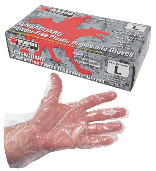 5040 - SensaGuard, Disposable Polyethelyne Gloves with Embossed Grip