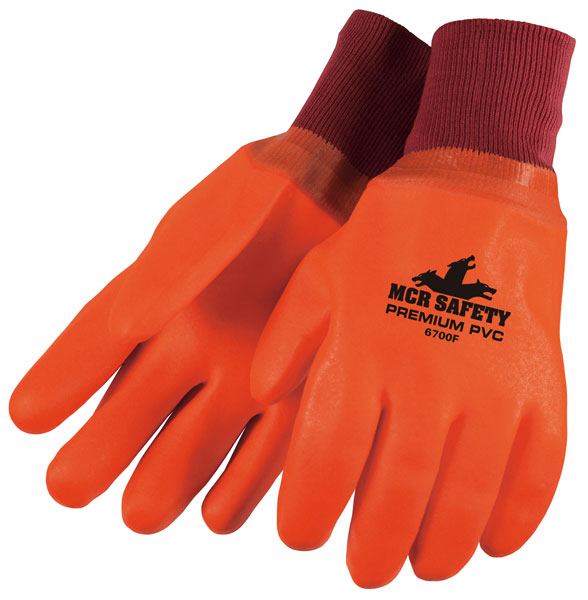 6700F - Premium Foam Lined PVC, Sandy Finish, Fluorescent Orange, Knit Wrist