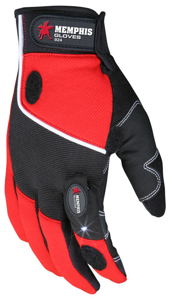 924 - MCR Safety Multi-Task, Synthetic Leather Palm with padding,Red and Black Back, Lights included