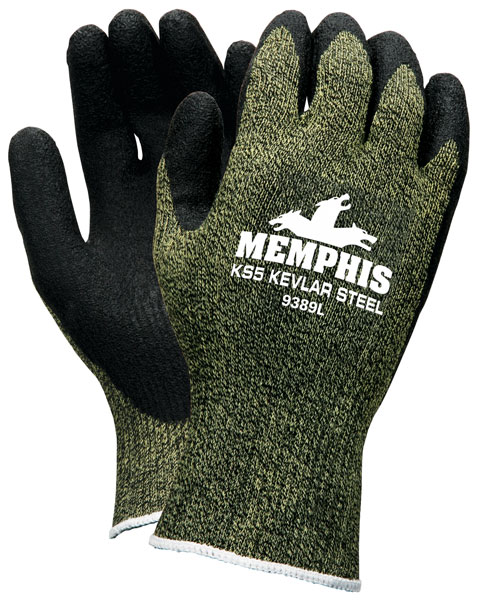 9389 - KS-5™, 13 Gauge DuPont™ Kevlar®/Steel/Nylon Fibers, Black Latex Dip Palm and Fingers