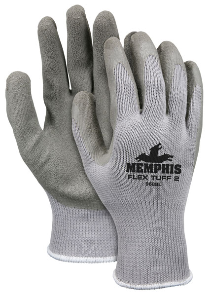 9688 - Memphis Flex Tuff® II, 10 Gauge Cotton/Polyester Shell, Latex Palm & Fingertips, Knit Wrist