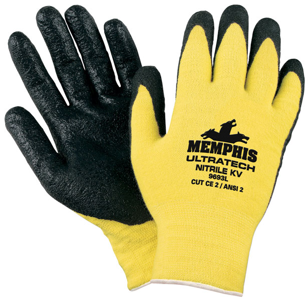 9693 - Memphis UltraTech® Nitrile KV, 15 Gauge Stretch Kevlar®, Textured Nitrile Palm