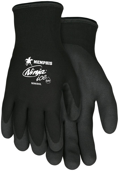 N9690 - Ninja® Ice 15 Gauge black nylon, Acrylic Terry inner, HPT palm and fingertips