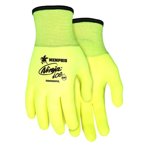 N9690HV - Ninja® Ice Hi-Vis 15 Gauge Lime nylon, Acrylic Terry Inner, 3/4 HPT coated