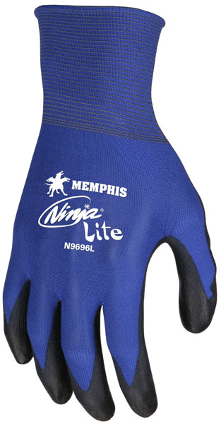 N9696 - Ninja® Lite, 18 Gauge Blue Nylon Shell, PU Coated Palm and Fingertips