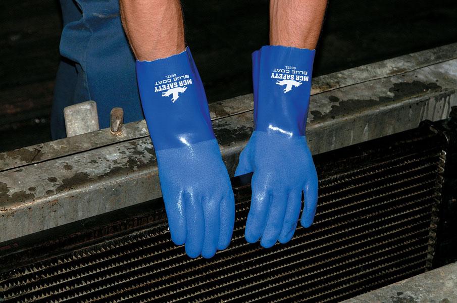 "6632 - Flexible Seamless PVC, Bluecoat, 12"" Gauntlet, Triple Dipped, Seamless Knit Liner"