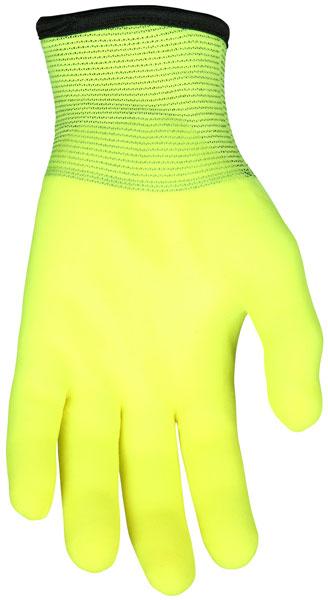 N9690HV - Ninja® Ice Hi-Vis 15 Gauge Lime nylon, Acrylic Terry Inner, 3/4 HPT coated